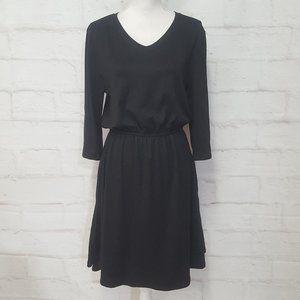 ¾ Sleeve Solid Black Dress w/ Pockets L